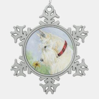 Wheaten Scottie Snowflake Pewter Christmas Ornament
