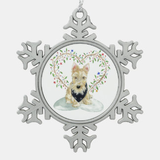 Wheaten Scottie with heart Snowflake Pewter Christmas Ornament