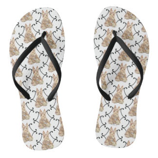 Wheaten Scottish Terrier Scroll Flip Flops