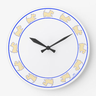 Wheaten Scottish Terriers Large Clock