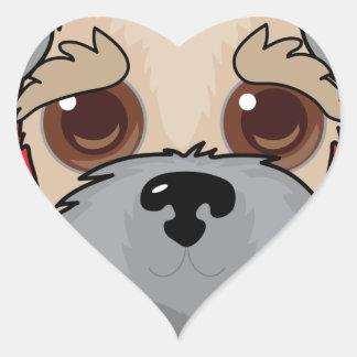 Wheaten Terrier Face Heart Sticker