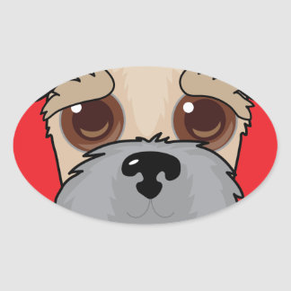 Wheaten Terrier Face Oval Sticker