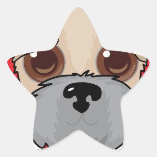 Wheaten Terrier Face Star Sticker