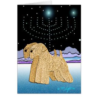 """""""Wheaten Terriers at Chanukah"""" Card"""
