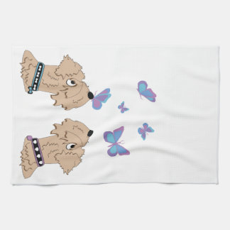 Wheatens and Butterflies Kitchen Towel