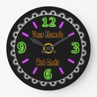 Wheel Cool Faux Neon #2 (Personalized Wall Clock) Large Clock