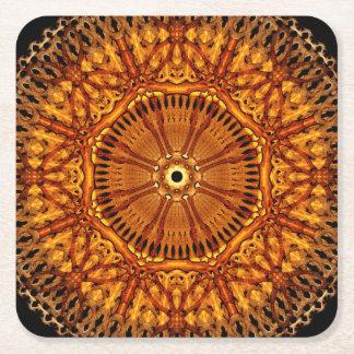 Wheel of Ages Mandala Square Paper Coaster
