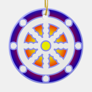 Wheel of Dharma Round Ceramic Ornament