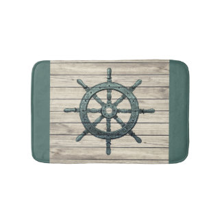 Wheel Of Pirate Ship Vintage Style Wooden Bath Mat
