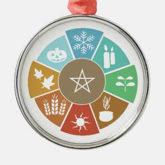 Wheel of the Year Silver-Colored Round Ornament