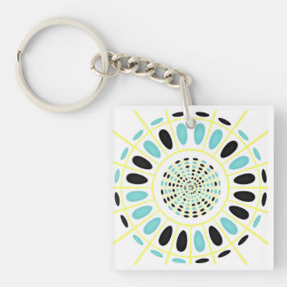 Wheel on white Double-Sided square acrylic keychain