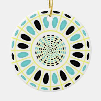 Wheel on white round ceramic ornament