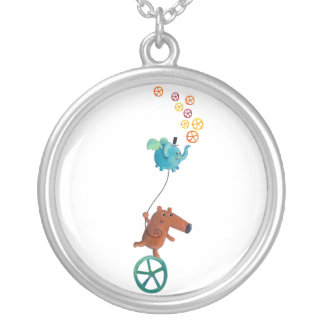 Wheel time silver plated necklace