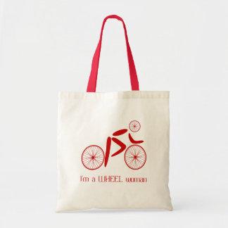 Wheel woman funny cycling sports budget tote bag