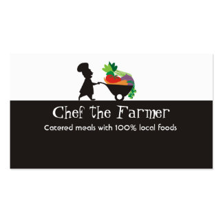wheelbarrow man chef giant vegetables business ... business card