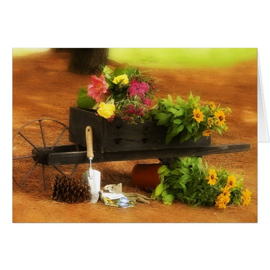 Wheelbarrow of Flowers Card
