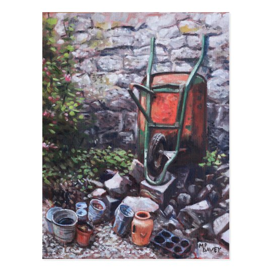 Wheelbarrow With Collection Of Pots by wall Postcard
