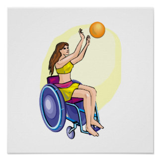 Wheelchair Basketball Girl Posters