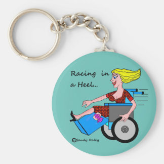 Wheelchair Girl in Heel Amputee Basic Round Button Keychain