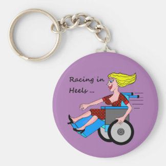 Wheelchair Girl in Heels Basic Round Button Keychain