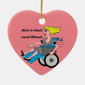 Wheelchair Girl in Heels Ceramic Heart Ornament