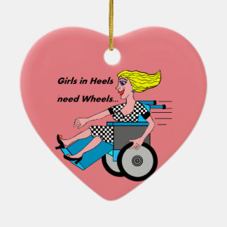 Wheelchair Girl in Heels Ceramic Ornament