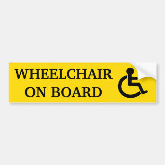 Wheelchair On Board Bumper Sticker