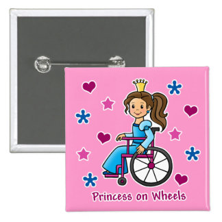 Wheelchair Princess 2 Inch Square Button