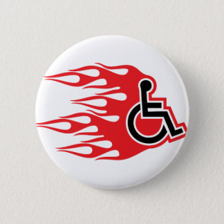 Wheelchair rocket flames 2 inch round button