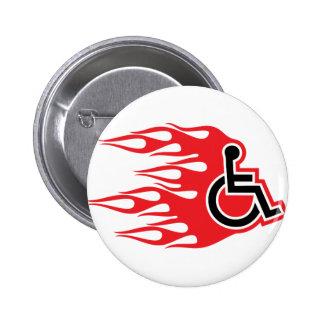 Wheelchair rocket flames 2 inch round button