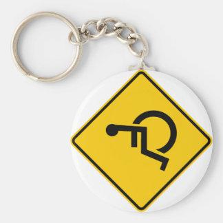 Wheelchair Traffic Highway Sign Keychain