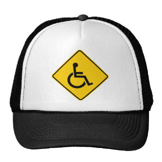Wheelchair Traffic Highway Sign Trucker Hat