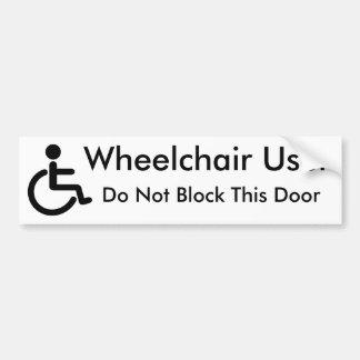 Wheelchair User - Do Not Block Door Bumper Sticker
