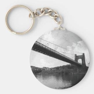 Wheeling Suspension Bridge B&W Basic Round Button Keychain