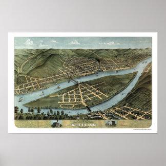 Wheeling, WV Panoramic Map - 1870 Poster