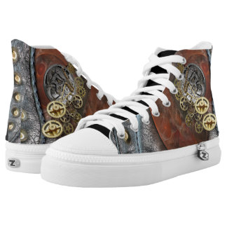 Wheels of Time on Leather High Tops