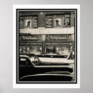 Whelan's Drug Store Vintage B&W Poster 16 x 20