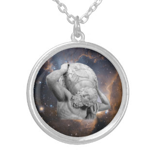 When Atlas Shirked Medallion Silver Plated Necklace
