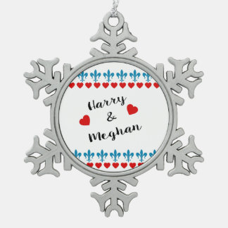 When Harry met Meghan Snowflake Pewter Christmas Ornament