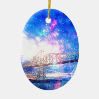 When I Look to the Sky Ceramic Oval Ornament