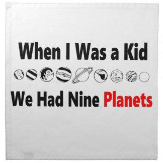 when i was kid we had nine planets napkin