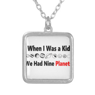 when i was kid we had nine planets silver plated necklace
