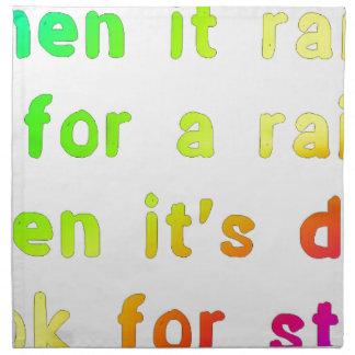 When it rains. napkin