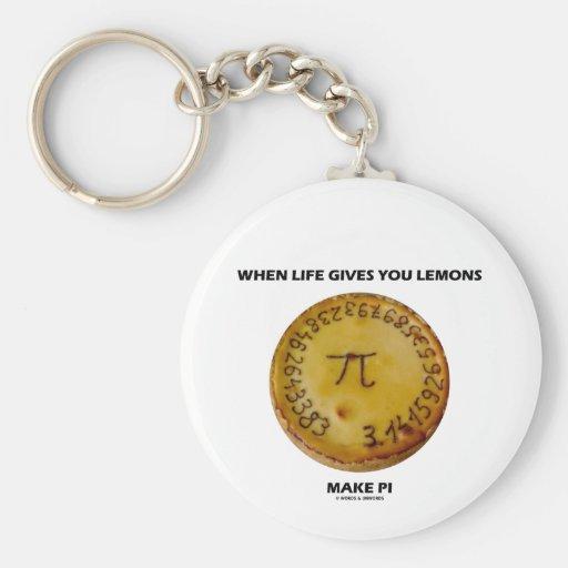 When Life Gives You Lemons Make Pi (Pie Humor) Key Chain