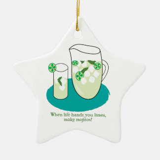 When Life Hands You Limes, Make Mojitos! Ceramic Ornament