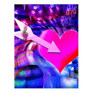 When Music arrow targeted heart Postcard
