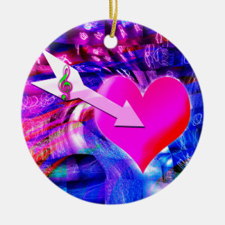 When Music arrow targeted heart Round Ceramic Ornament