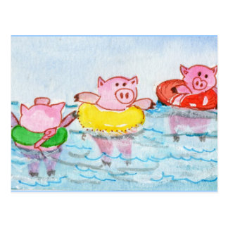When Piglets Float  - Swimming Pigs Postcard