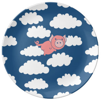 When pigs fly flying pig porcelain plates
