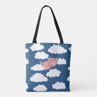 When pigs fly flying pig tote bag